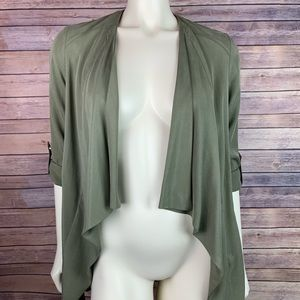 New Look Green Waterfall Lapel Blazer Zip Jacket